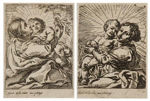 virgin and child picking an apple from a tree (+ virgin and child, sitting and turned to the left, 2 works) by cornelis schut the elder