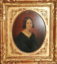 portrait de femme (+ portrait d'homme en redingote; pair) by jacobus ludovicus godinau