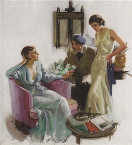 artist with two confrontational models by walter g. ratterman
