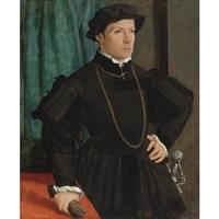portrait of hans jakob fugger, three-quarter length, before a green drape by christoph amberger