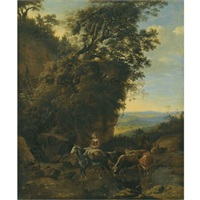 a rocky outcrop with riders and cattle crossing a stream by jan siberechts