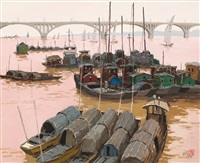 boats beside xiang river by pang jun