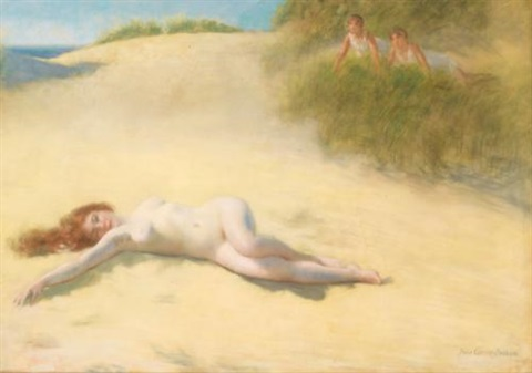 nu endormi sur la plage by pierre carrier belleuse