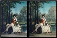 bacchante dans une forêt et siège antique (2 works) by edmond goldschmidt
