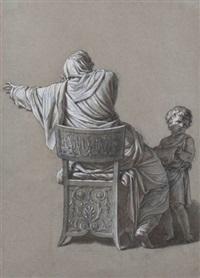 femme assise drapée à l'antique vue de dos by jean françois pierre peyron