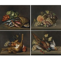 still-life with fish (+ 3 others; 4 works) by c. vallet