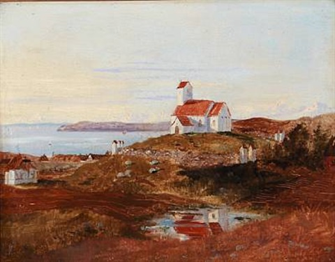 view towards helgenæs church denmark by janus andreas barthotin la cour
