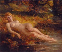 a nude reclining by the edge of a woodland pool by john valentine