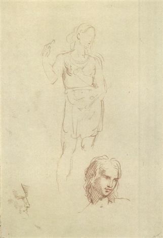 figura in piedi e teste study by andrea appiani