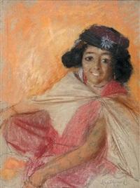 portrait de jeune femme orientale by lucien lévy-dhurmer