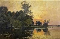 soleil couchant dans la lourine by albert gabriel rigolot