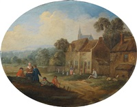 landschaft mit einem dorf und bäuerlicher staffage by jan frans van bredael the elder