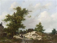 travellers on a country road by adrianus van der koogh