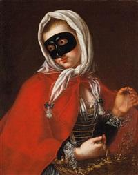 ritratto di dama in maschera by felice boscaratti