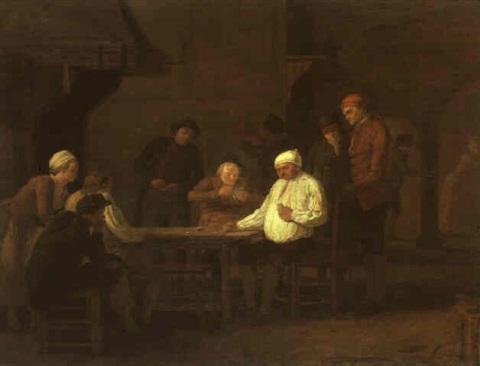card players in an inn by leonard de france