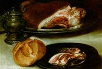 a still life with ham on pewter plates, a bun and a sugar jar, all on a table covered with a white table cloth by alexander adriaenssen