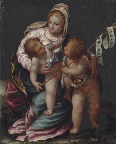 the madonna and child with the infant saint john the baptist by paolo farinati