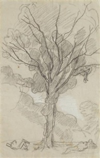 personnages au pied d'un grand arbre by thomas couture