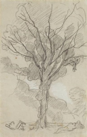 personnages au pied dun grand arbre by thomas couture