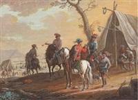 des cavaliers trinquant et fumant dans un campement militaire by jean-baptiste (louis) le paon