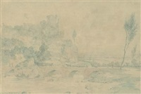 landscape with cattle and a bridge by richard dadd
