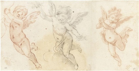 three studies of flying putti on 2 sheets by fabrizio boschi