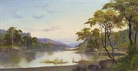 a river landscape (the hudson?) by daniel charles grose