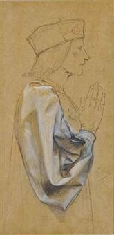 homme de profil avec un détail de sa manche drapée et une scène de macbeth (2 works) by luc olivier merson