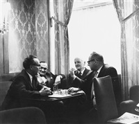 geistige elite im caffee des hotel sacher (heimito von doderer, hans weigel, rober neumann, ...) (2 works) by barbara pflaum