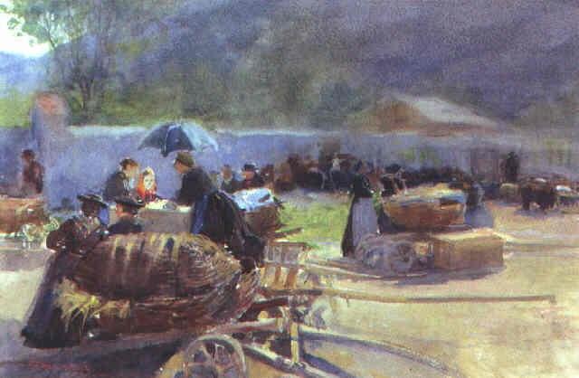 markt in klausen by ferdinand kruis