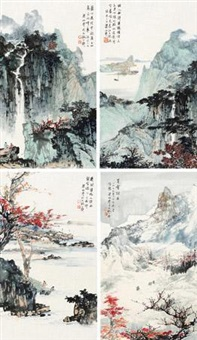 四景山水 (in 4 parts) by liang boyu