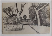 landscape with trees by keith vaughan