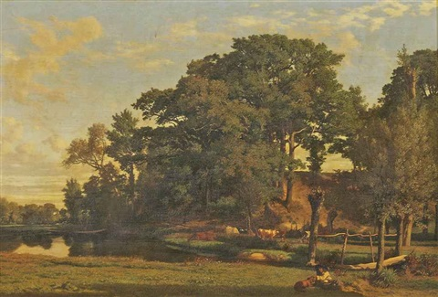 a drover and cattle in a river landscape a man and his dog by prosper georges antoine marilhat