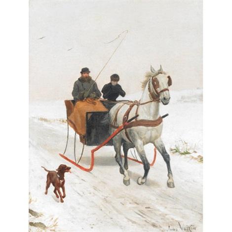 winter sleigh ride by jules antoine voirin
