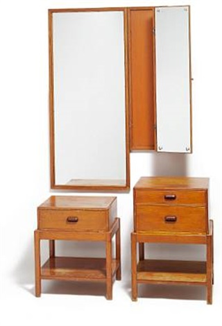 two part folding mirror with two chests of drawers by rigmor andersen