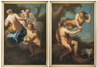 venus donnant les pommes à atalante mercure donnant la pomme à pâris (pair) by dutch school (18)