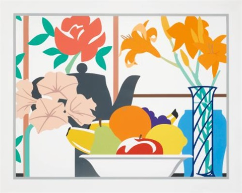 still life with petunias lilies and fruit by tom wesselmann