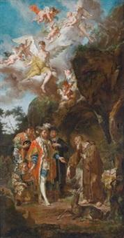 der westgotenkönig wamba besucht den heiligen ägidius in seiner einsiedelei by franz anton palko