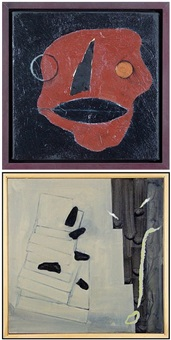 ohfey (+ picabia, acrylic on canvas, smllr; 2 works) by ron linden