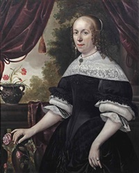 portrait of a lady, three-quarter-length, in a black dress with white lace, a pearl and granite parure and pearls in her hair, holding a pink rose... by anthonie palamedesz