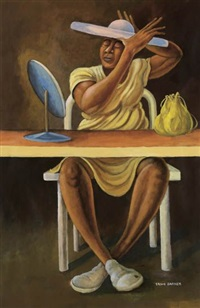 untitled (seated woman fixing hat) by ernie barnes