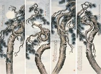 松树 (pine) (set of 4) by zhao songsheng
