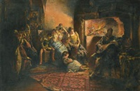 in front of the fire by stanislaw batowski-kaczor