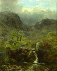 sheep above a highland brook by james faed the younger