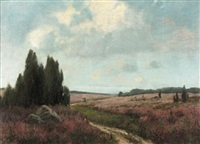 a girl on a path aside fields of heather by paul carl jünemann