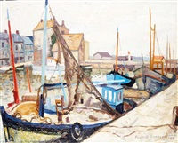bateaux à quai dans le vieux bassin, à honfleur by franck innocent