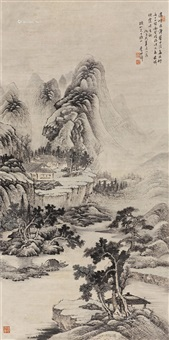山水 立轴 纸本水墨 by li shizhuo