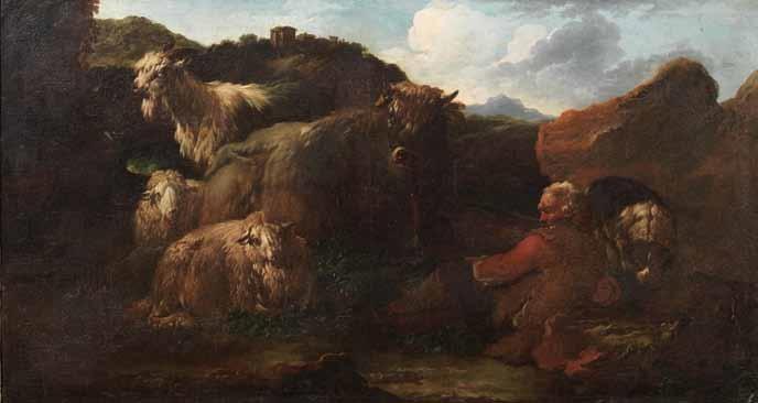 paesaggio con contadini e armenti by philipp peter roos