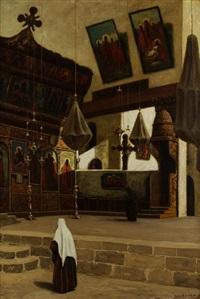 l'intérieur de la chapelle de la nativité à bethléem by louis gustave cambier
