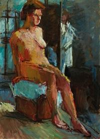 sitzender weiblicher akt by leon abramowicz